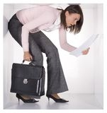 Businesswoman in the cube Royalty Free Stock Photos