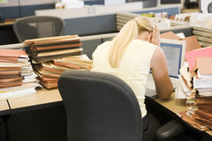 Businesswoman in cubicle stock photos