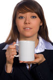 Businesswoman with cup. Over white Royalty Free Stock Image