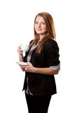 Businesswoman with cup of coffee royalty free stock image