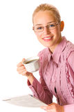 Businesswoman with cup of coffee stock images