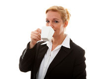 Businesswoman with cup of coffee or tea Stock Photos