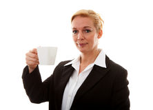 Businesswoman with cup of coffee or tea Royalty Free Stock Photography