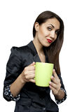 Businesswoman with a cup of tea or coffee Royalty Free Stock Photos