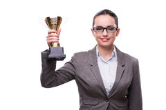 The businesswoman with cup trophy isolated on white Royalty Free Stock Photography