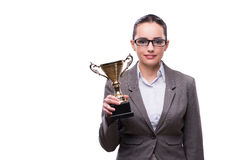 The businesswoman with cup trophy isolated on white Stock Photo