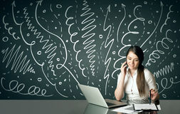 Businesswoman with curly lines and arrows Stock Photography