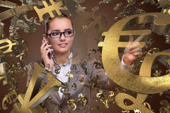 The businesswoman with currencies in business concept Royalty Free Stock Photos