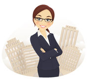 Businesswoman. Cute businesswoman with arms crossed royalty free illustration