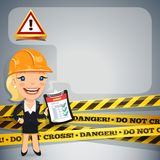 Businesswoman With Danger Tapes Royalty Free Stock Photo