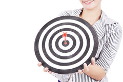 Businesswoman with dart board Stock Photos