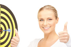 Businesswoman with dart and target Stock Image