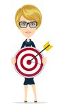 Businesswoman with dart and target Royalty Free Stock Photo