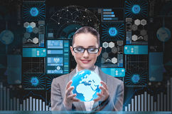 The businesswoman in data mining concept Stock Photos