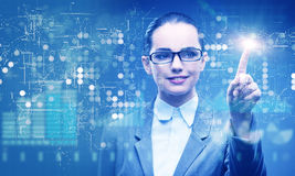 The businesswoman in data mining concept. Businesswoman in data mining concept Royalty Free Stock Images