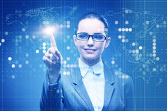 The businesswoman in data mining concept Stock Images