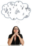 Businesswoman daydreaming about earnig money Stock Photos