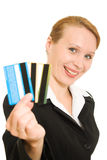 Businesswoman with a debit card Stock Photography
