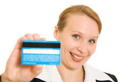 Businesswoman with a debit card Royalty Free Stock Photo