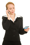 Businesswoman with a debit card Royalty Free Stock Image