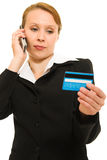 Businesswoman with a debit card Royalty Free Stock Images