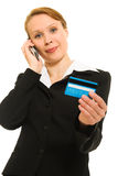 Businesswoman with a debit card Stock Photo