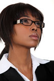 Businesswoman deep in thought Stock Photo