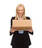 Businesswoman delivering cardboard box Royalty Free Stock Photo