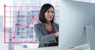 Businesswoman at desk with computer and grid points line. Digital composite of Businesswoman at desk with computer and grid points line royalty free stock photography