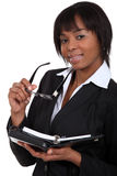 Businesswoman with a diary stock photography