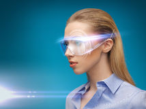 Businesswoman with digital glasses Stock Photos