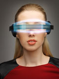 Businesswoman with digital glasses Royalty Free Stock Image