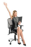 Businesswoman With Digital Tablet Celebrating Success While Sitt Royalty Free Stock Images