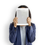 Businesswoman Digital Tablet Face Covered Copy Space Technology. Businesswoman Digital Tablet Face Covered Copy Space stock photo