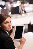 Businesswoman with digital tablet. stock photos