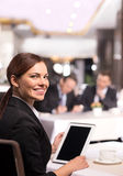 Businesswoman with digital tablet. Stock Images