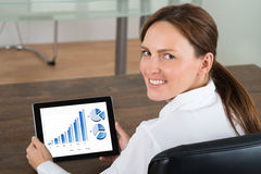 Businesswoman With Digital Tablet Showing Graphs. Young Businesswoman With Digital Tablet Showing Graphs On Display In Office Stock Images