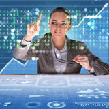 The businesswoman in digital world concept Stock Photography