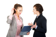 Businesswoman disagree with her friend idea. Stock Photos