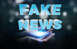 Businesswoman discovering fake news information 3D rendering. Businesswoman on blurred background discovering fake news information 3D rendering Stock Photos