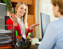 Businesswoman discusses about work with candidate Stock Image