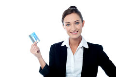 Businesswoman displaying her cash card Royalty Free Stock Photography