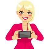 Businesswoman Displaying Horizontal Smartphone Stock Photos