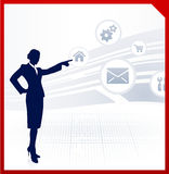 Businesswoman displaying internet icons Stock Photography