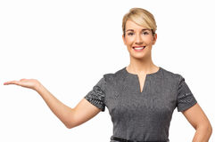 Businesswoman Displaying Invisible Product Royalty Free Stock Image