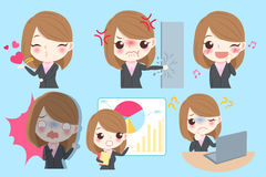 Businesswoman do different emotion. Cute cartoon businesswoman do different emotion with blue background Stock Photo