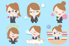 Businesswoman do different emotion. Cute cartoon businesswoman do different emotion with blue background Stock Photography