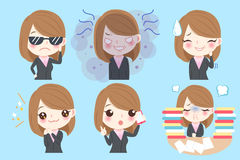 Businesswoman do different emotion royalty free illustration