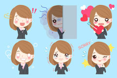 Businesswoman do different emotion stock illustration