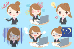 Businesswoman do different emotion. Cute cartoon businesswoman do different emotion with blue background Royalty Free Stock Photo